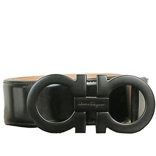 SALVATORE FERRAGAMO Oversized Double Gancini Belt, Black-OZNICO