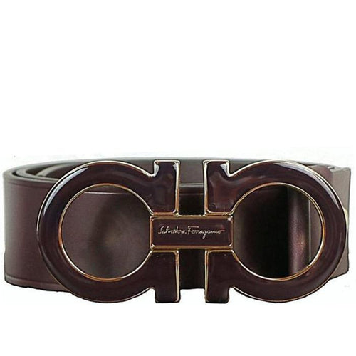 SALVATORE FERRAGAMO Oversized Double Gancini Belt, Bordeaux-OZNICO