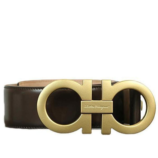 SALVATORE FERRAGAMO Oversized Double Gancini Belt, Hickory-OZNICO