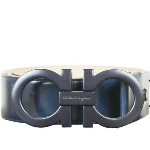 SALVATORE FERRAGAMO Oversized Double Gancini Belt, Marine Blue-OZNICO