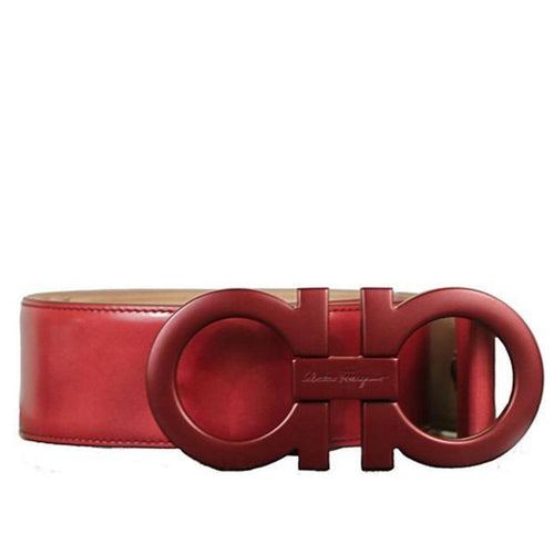 SALVATORE FERRAGAMO Oversized Double Gancini Belt, Red-OZNICO