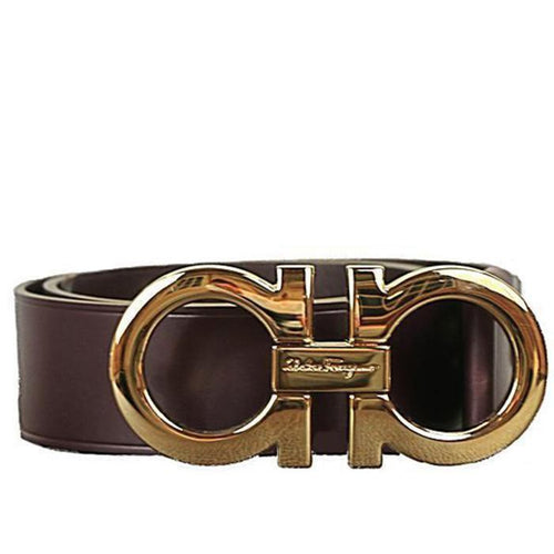 SALVATORE FERRAGAMO Oversized Double Gancini Belt, Rouge Noir-OZNICO