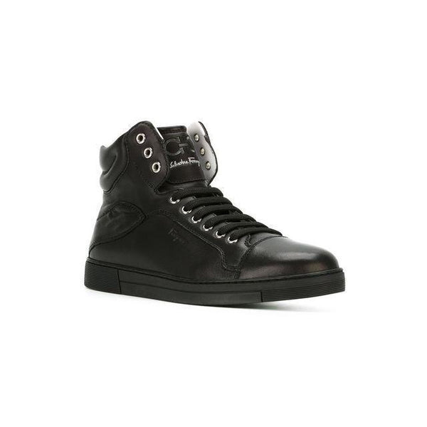 SALVATORE FERRAGAMO Stephen High Top Sneaker, Black-OZNICO