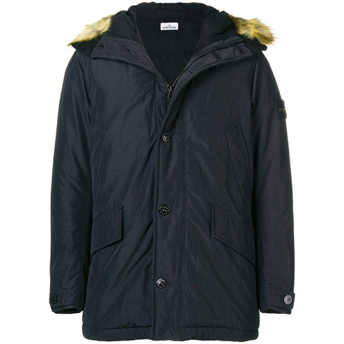 STONE ISLAND Down Hooded Parka, Black-OZNICO