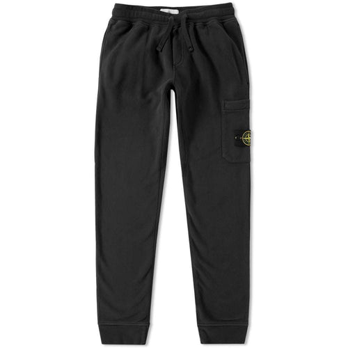 STONE ISLAND Garment Dyed Slim Sweatpants, Black-OZNICO