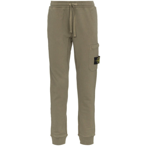 STONE ISLAND Garment Dyed Slim Sweatpants, Green-OZNICO