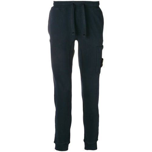 STONE ISLAND Garment Dyed Slim Sweatpants, Navy Blue-OZNICO