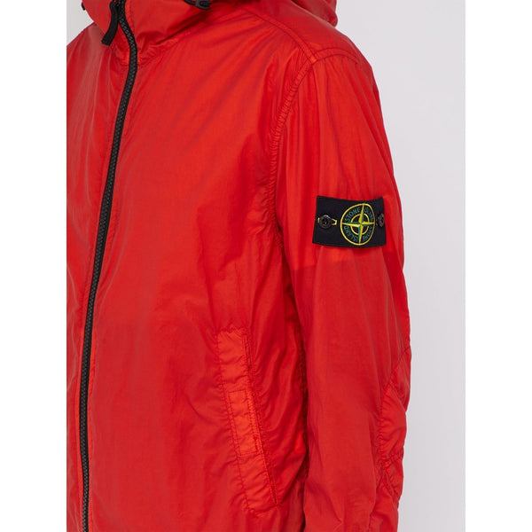 STONE ISLAND Hooded Lamy-Velour Technical Jacket, Coral-OZNICO