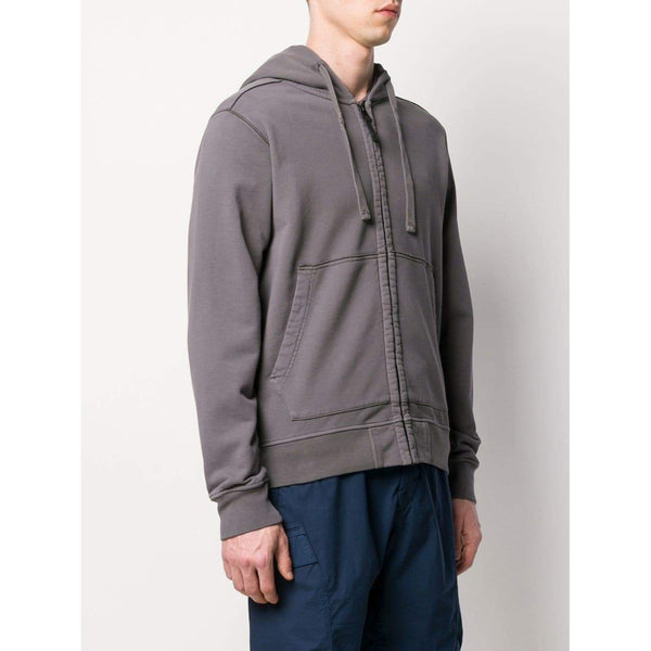 STONE ISLAND Hooded Zip Sweatshirt, Dark Grey-OZNICO