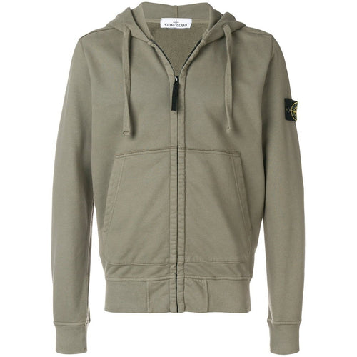 STONE ISLAND Hooded Zip Sweatshirt, Green-OZNICO