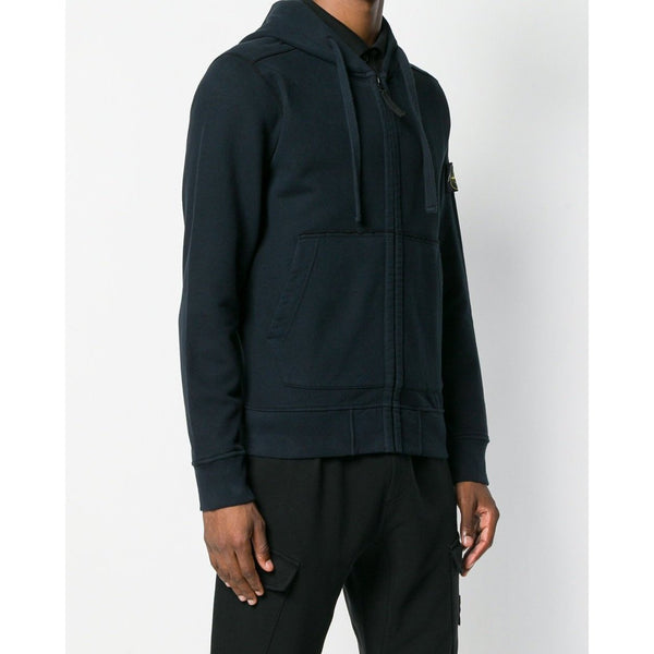 STONE ISLAND Hooded Zip Sweatshirt, Navy-OZNICO