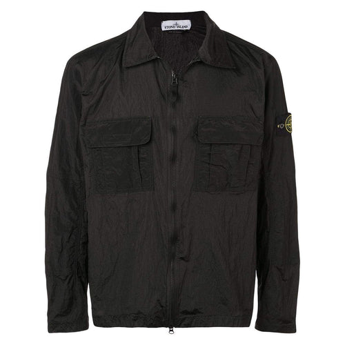 STONE ISLAND Light Weight Overshirt, Black-OZNICO