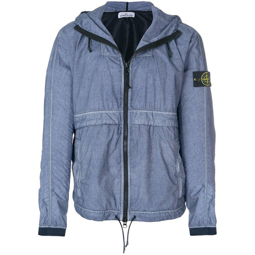 STONE ISLAND Lightweight Hooded Jacket, Light Indigo-OZNICO