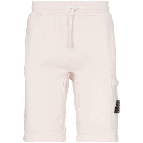 STONE ISLAND Logo Patch Cotton Track Shorts, Beige-OZNICO