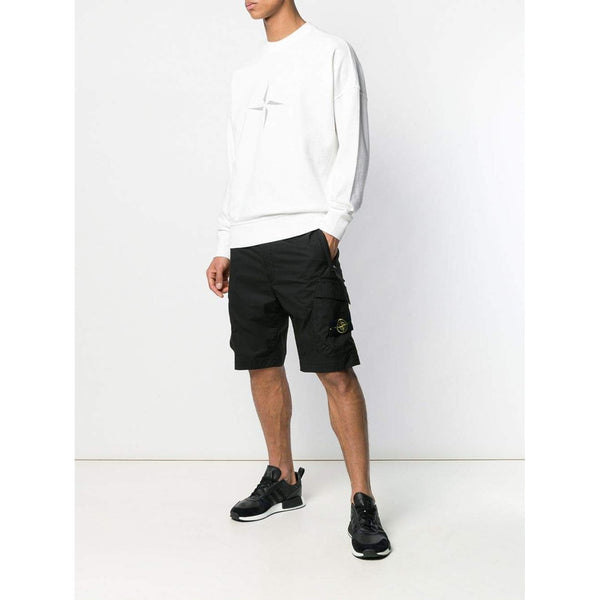 STONE ISLAND Logo Patch Shorts, Black-OZNICO