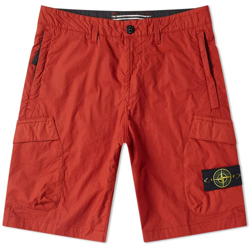 STONE ISLAND Logo Patch Shorts, Red-OZNICO