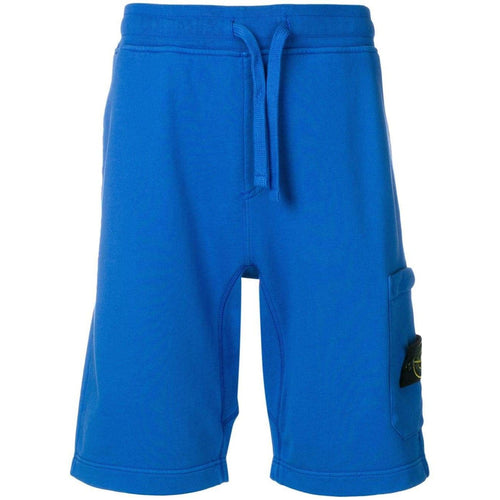 STONE ISLAND Logo Patch Track Shorts, Blue-OZNICO