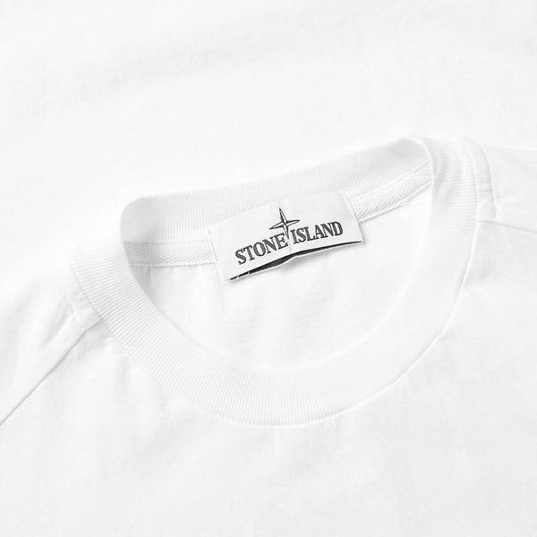 STONE ISLAND Patch Logo T-Shirt, White-OZNICO