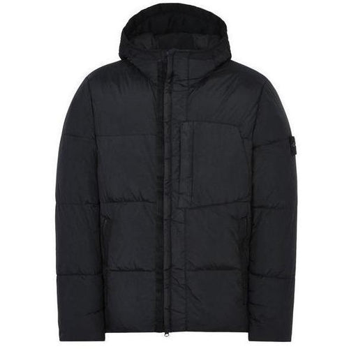 Stone Island: Real Down Blouse Jacket, Black-OZNICO