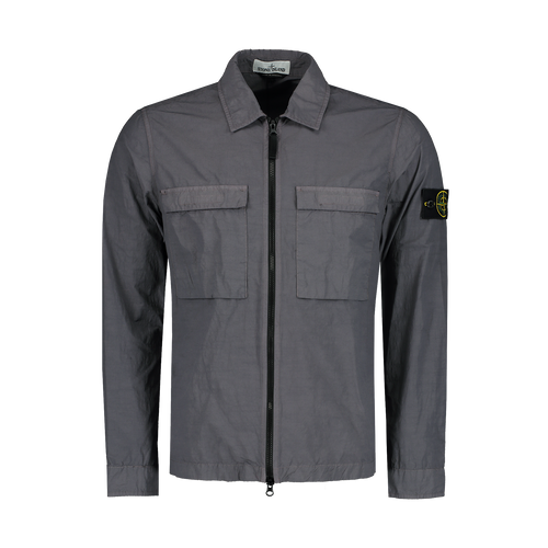 STONE ISLAND Garment Dyed Pocket Zip Overshirt, Blue Grey