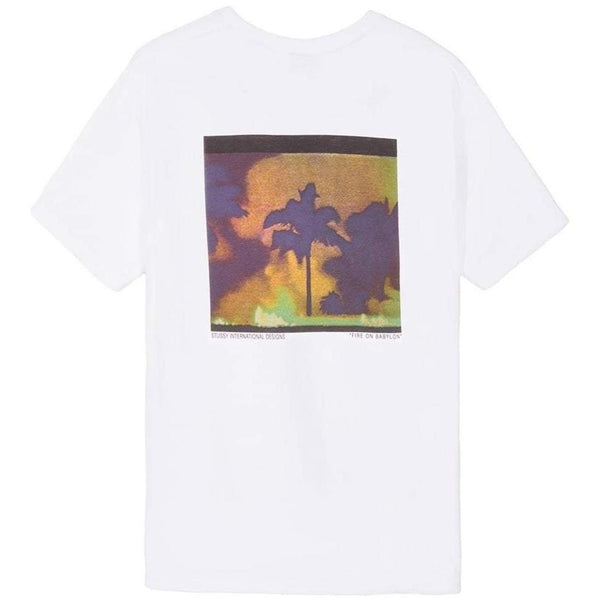 STUSSY Fire On Babylon Tee, White-OZNICO