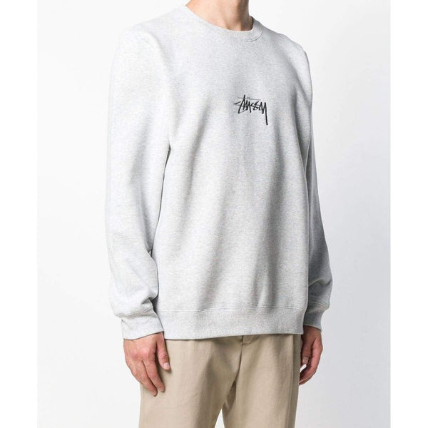 STUSSY Stock Appliqué Crewneck Sweatshirt, Grey Heather-OZNICO