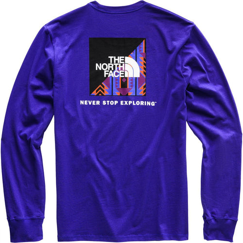 THE NORTH FACE 92 Rage Print L/S Red Box Heavy Weight T-Shirt, Aztec Blue-OZNICO