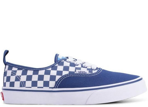 VANS Kids Authentic Elastic Lace Checkerboard, White/ Blue-OZNICO