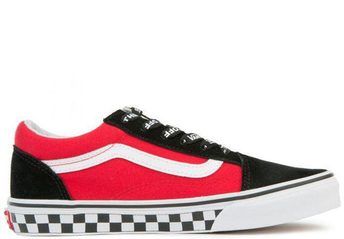 VANS Kids Old Skool Checkerboard Logo Pop, Black/ Red-OZNICO