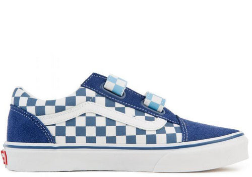 VANS Kids Old Skool V Checkerboard, Blue/ True White-OZNICO