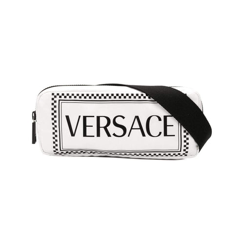 VERSACE 90's Vintage Logo Crossbody Belt Bag, White-OZNICO