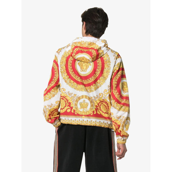 VERSACE Baroque Print Hooded Jacket, Red/ Yellow-OZNICO