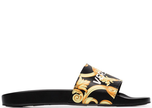 VERSACE Baroque Print Slides, Black/ Gold-OZNICO