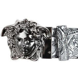 VERSACE Black Reversible Baroque Printed Leather Belt-OZNICO