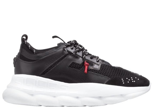 VERSACE Chain Reaction Sneakers, Black-OZNICO