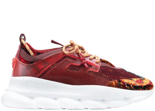 VERSACE Chain Reaction Sneakers, Burgundy-OZNICO