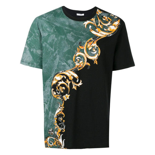 VERSACE COLLECTION Baroque Pattern T-Shirt, Black-OZNICO