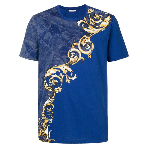 VERSACE COLLECTION Baroque Pattern T-Shirt, Light Blue-OZNICO