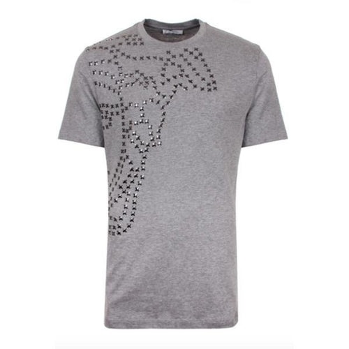 VERSACE COLLECTION Cross Studded T-Shirt, Grey-OZNICO