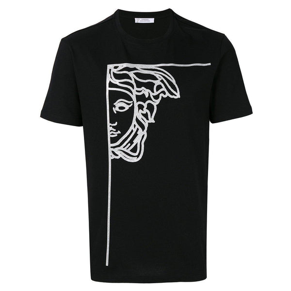 VERSACE COLLECTION Half Medusa Print T-Shirt, Black-OZNICO
