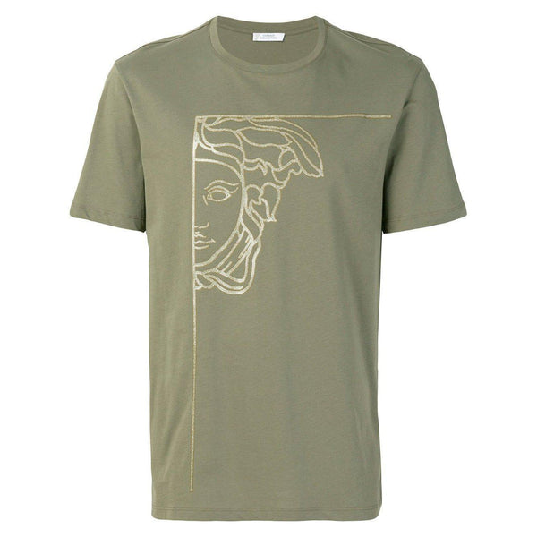 VERSACE COLLECTION Half Medusa Print T-Shirt, Green-OZNICO