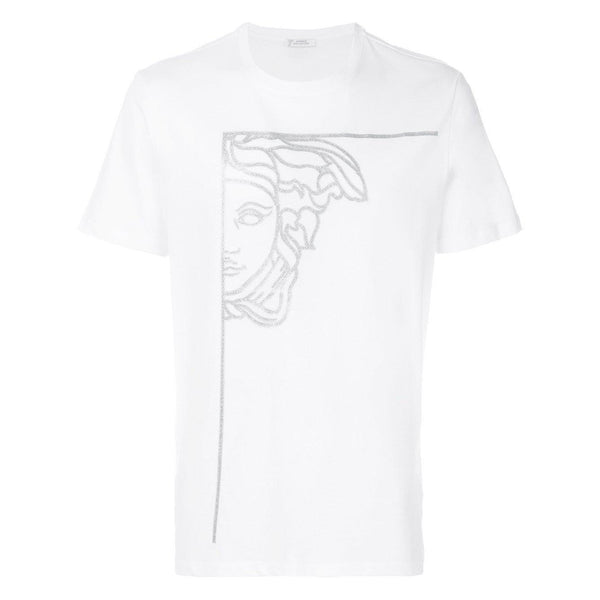 VERSACE COLLECTION Half Medusa Print T-Shirt, White-OZNICO