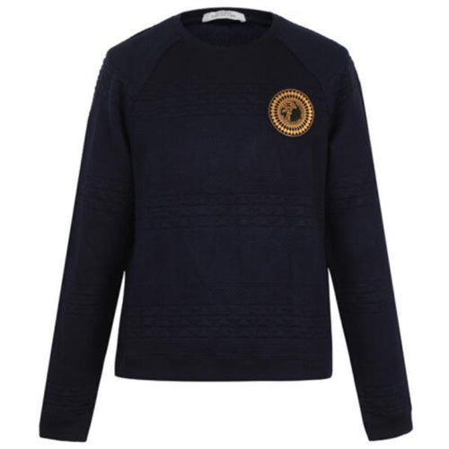 VERSACE COLLECTION Knit Sweatshirt, Navy-OZNICO