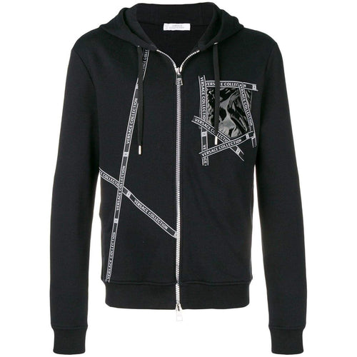 VERSACE COLLECTION Logo Zipped Hoodie, Black-OZNICO