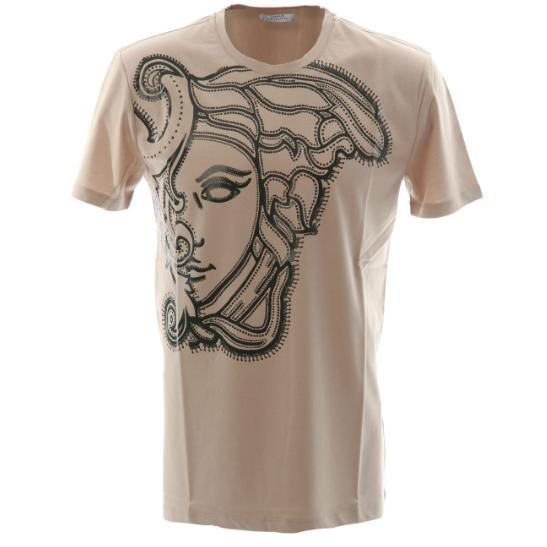 VERSACE COLLECTION Medusa Print T-Shirt, Beige-OZNICO