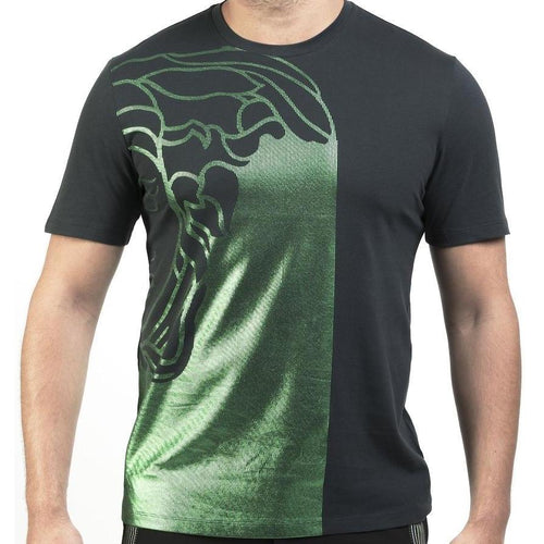 VERSACE COLLECTION Medusa Print T-Shirt, Black/ Green-OZNICO