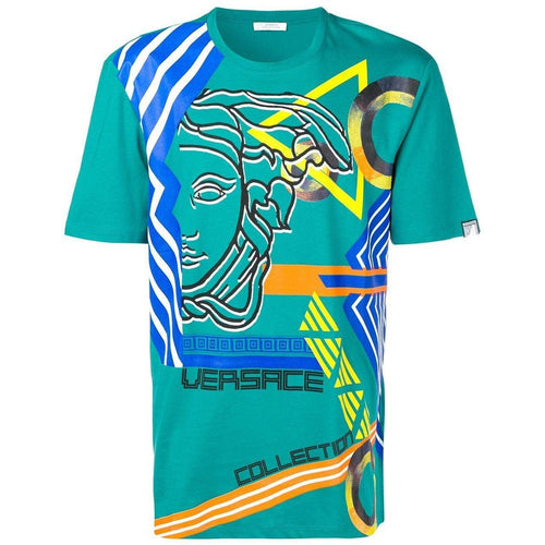 VERSACE COLLECTION Medusa Print T-Shirt, Turquoise-OZNICO