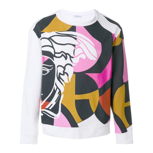 VERSACE COLLECTION Multi Printed Sweatshirt, White-OZNICO