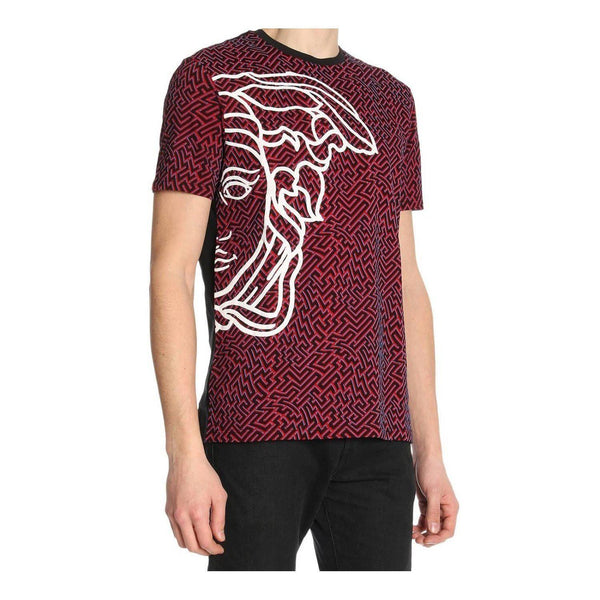 VERSACE COLLECTION Optic Print T-Shirt, Black-OZNICO