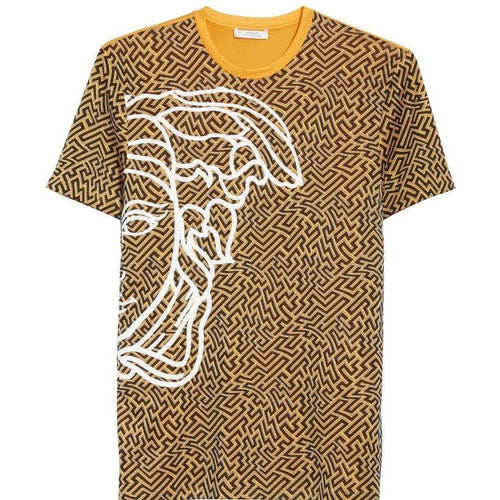 VERSACE COLLECTION Optic Print T-Shirt, Light Orange-OZNICO